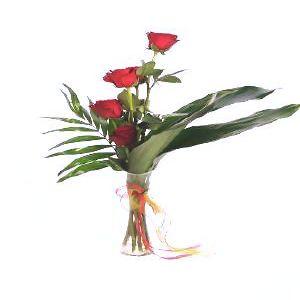 Salon Des Fleurs-Five Roses in Vase