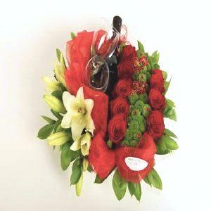 Salon Des Fleurs-Red Roses & Wine Arrangement